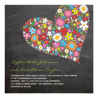 Spring Flowers Heart Whimsical Chalkboard Wedding 13 Cm X 13 Cm Square Invitation Card