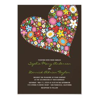 Spring Flowers Heart Whimsical Wedding Invite
