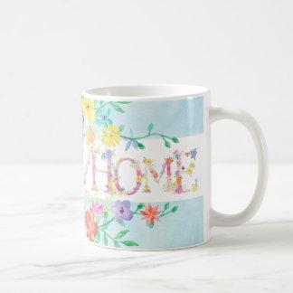 spring flowers home initial monogram watercolor basic white mug