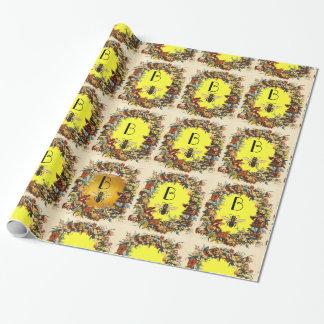 SPRING FLOWERS HONEY BEE / BEEKEEPER MONOGRAM WRAPPING PAPER