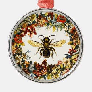 SPRING FLOWERS HONEY BEE / BEEKEEPER Silver-Colored ROUND DECORATION