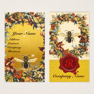 SPRING FLOWERS HONEY BEE BEEKEEPING RED WAX SEAL BUSINESS CARD