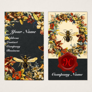 SPRING FLOWERS HONEY BEE BEEKEEPING WAX SEAL Black Business Card