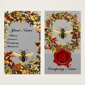 SPRING FLOWERS HONEY BEE BEEKEEPING WAX SEAL Grey Business Card