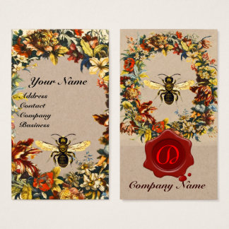 SPRING FLOWERS HONEY BEE BEEKEEPING WAX SEAL Kraft Business Card