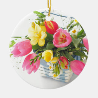 Spring flowers in basket christmas ornament