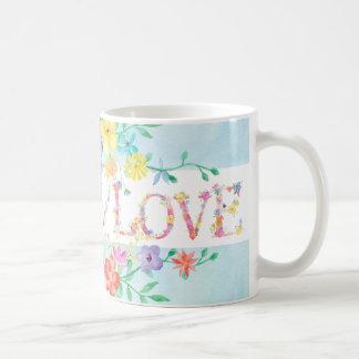 spring flowers initial monogram watercolor  mug