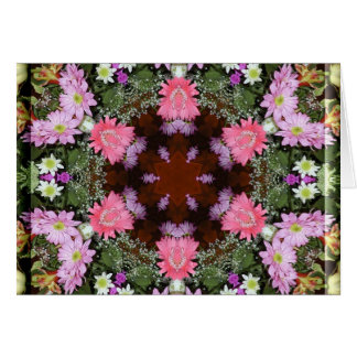Spring Flowers Kaleidoscope Greeting Card