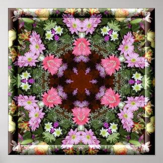 Spring Flowers Kaleidoscope Poster