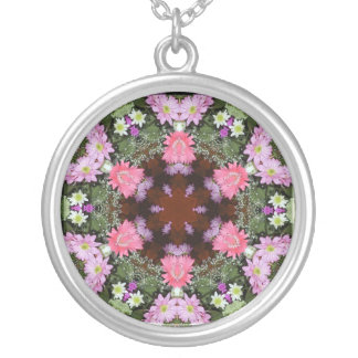 Spring Flowers Kaleidoscope Round Pendant Necklace