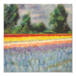 Spring Flowers Landscape Triptych Painting 1 of 3 13 Cm X 13 Cm Square Invitation Card