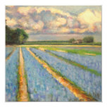 Spring Flowers Landscape Triptych Painting 3 of 3 13 Cm X 13 Cm Square Invitation Card