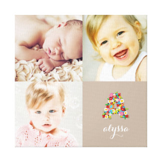 Spring Flowers Monogram Girl Photo Collage Canvas Stretched Canvas Prints