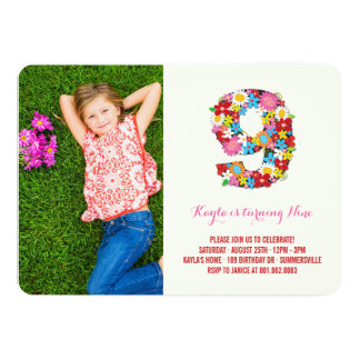 Spring Flowers Nine Young Girl 9th Birthday Photo 13 Cm X 18 Cm Invitation Card