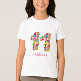 Spring Flowers Number Eleven 11th Birthday Party T-Shirt