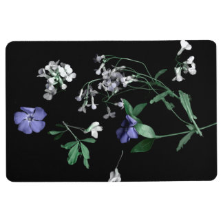 Spring flowers on black Floor Mat