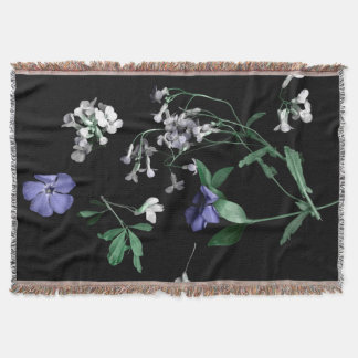 Spring flowers on black Throw Blanket