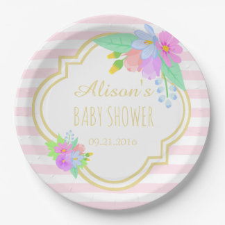 """Spring Flowers On Pink Baby Shower Paper Plates 9"""""""