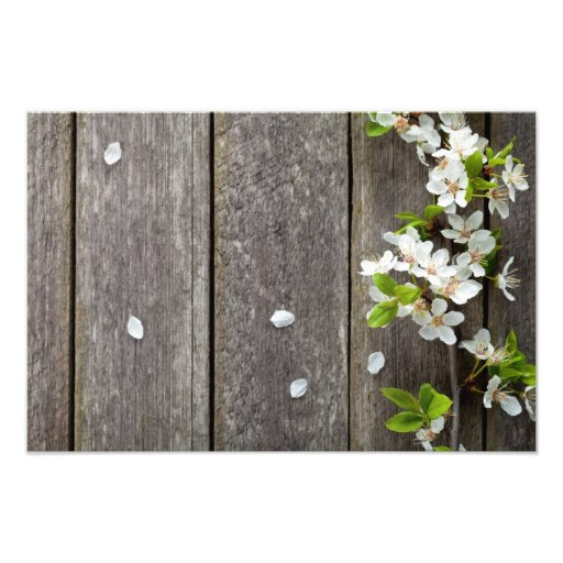 Spring Flowers On Wooden Table Background Photo Print