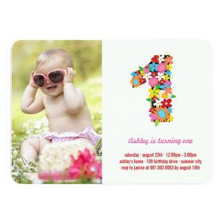 Spring Flowers One Baby Girl First Birthday Photo 11 Cm X 16 Cm Invitation Card