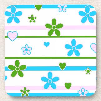 Spring Flowers Pattern Drink Coasters