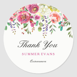 Spring Flowers Pink Peach Quinceanera Thank You Classic Round Sticker