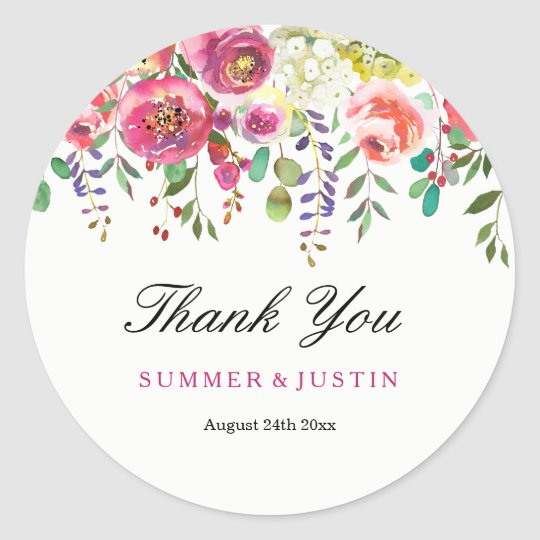 Spring Flowers Pink Peach Wedding Thank You Classic