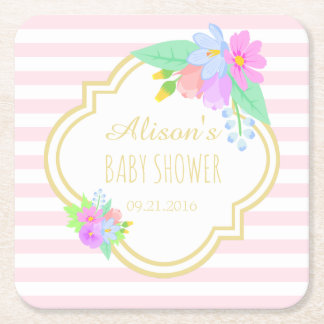 Spring Flowers Pink Stripes Baby Shower Coasters