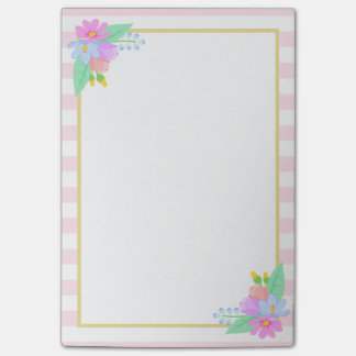 Spring Flowers Pink Stripes Post-it® Notes 4 x 6
