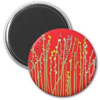 """""""SPRING FLOWERS"""" Red Collection 6 Cm Round Magnet"""