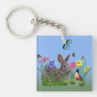 Spring Flowers, Robin,  and Bunny Rabbit Key Ring
