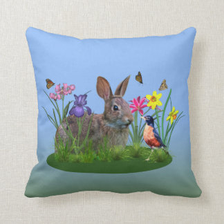 Spring Flowers, Robin,  and Bunny Rabbit Throw Pillow