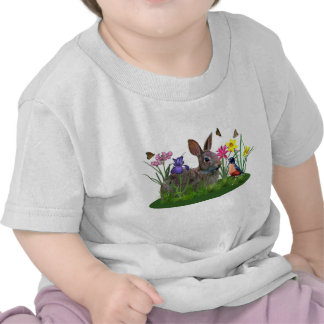 Spring Flowers, Robin,  and Bunny Rabbit T-shirt