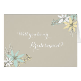 Spring Flowers Rustic Bridesmaid Invitation