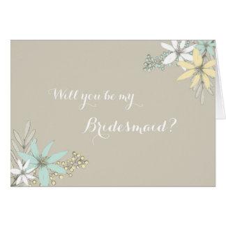 Spring Flowers Rustic Bridesmaid Invitation Greeting Card