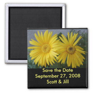 """Spring Flowers """"Save the Date"""" Square Magnet"""