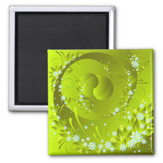 spring flowers square magnet