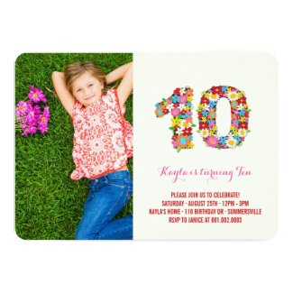Spring Flowers Ten Young Girl 10th Birthday Photo Card