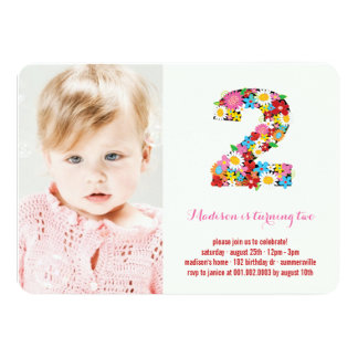 """Spring Flowers Two Baby Girl 2nd Birthday Photo 4.5"""" X 6.25"""" Invitation Card"""