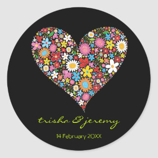 Spring Flowers Valentine Heart Chic Wedding Favor Round Sticker