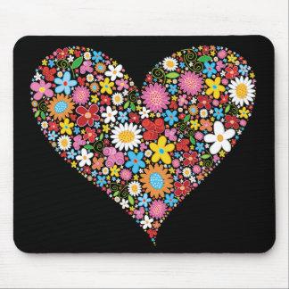 Spring Flowers Valentine Heart Love Fun Mousepad