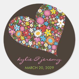Spring Flowers Valentine Heart Wedding Sticker