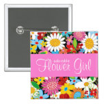 Spring Flowers Wedding Custom Name Tag / Button
