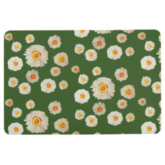 Spring Flowers, White Daisies Pattern Floor Mat