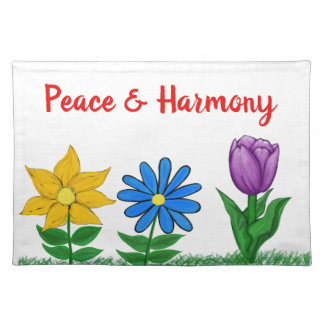 Spring Flowers White Peace Placemats