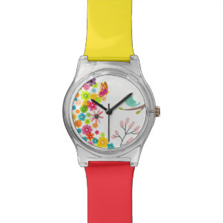 spring flowers with a bird and a butterfly watch