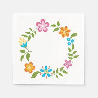 Spring Flowers Wreath Disposable Serviette
