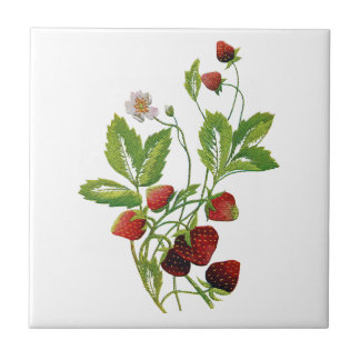 Spring Fresh Strawberries Embroidery Small Square Tile