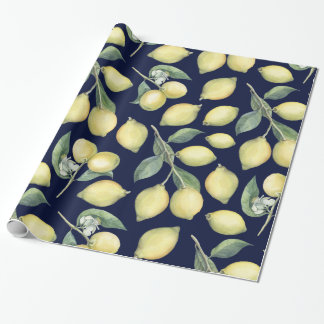 Spring Fresh watercolor yellow lemon branches Wrapping Paper