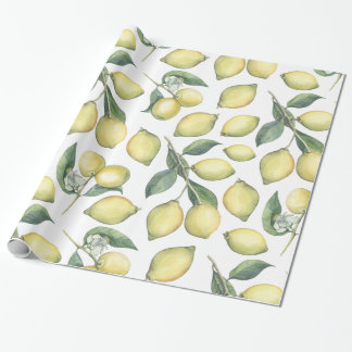 Spring Fresh watercolor yellow lemons and leaves Wrapping Paper